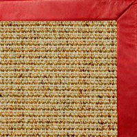 Spice Sisal Rug with Red Leather Border - Free Shipping