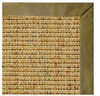 Spice Sisal Rug with Sage Green Leather Border - Free Shipping