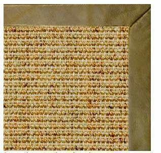 Spice Sisal Rug with Sage Green Leather Border