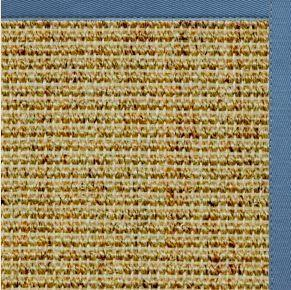 Spice Sisal Rug with Slate Blue Cotton Border
