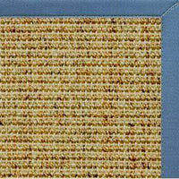 Spice Sisal Rug with Slate Blue Cotton Border - Free Shipping
