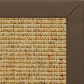 Spice Sisal Rug with Stone Faux Leather Border - Free Shipping