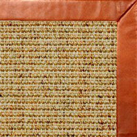 Spice Sisal Rug with Whiskey Leather Border - Free Shipping