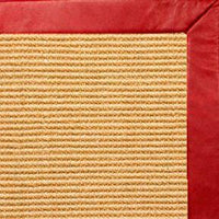 Tan Colored Sisal Rug with Red Leather Border