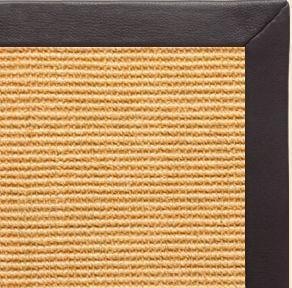Tan/Light Brown Sisal Rug with Black Leather Border - Free Shipping