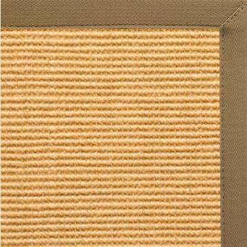 Tan Sisal Rug with Adobe Brown Canvas Border