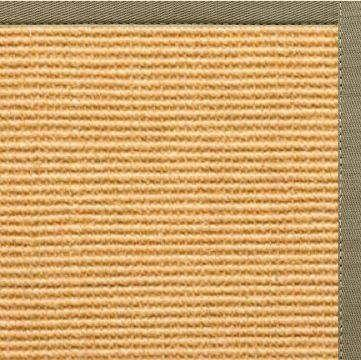 Tan Sisal Rug with Basil Green Cotton Border