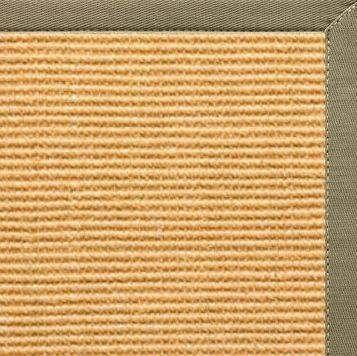 Tan Sisal Rug with Basil Green Cotton Border - Free Shipping