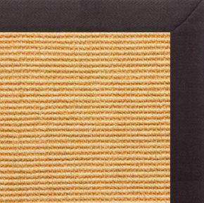 Tan Sisal Rug with Black Linen Border