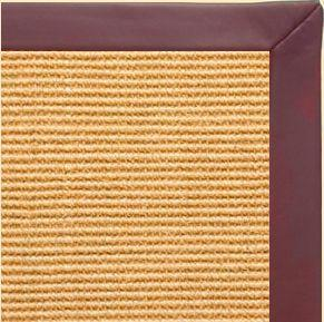 Tan Sisal Rug with Burgundy Leather Border - Free Shipping