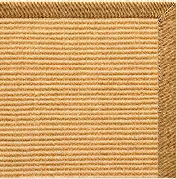 Tan Sisal Rug with Butter Rum Cotton Border - Free Shipping