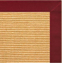 Tan Sisal Rug with Cardinal Red Cotton Border - Free Shipping