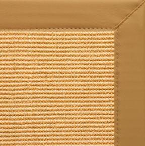 Tan Sisal Rug with Chamois Faux Leather Border - Free Shipping