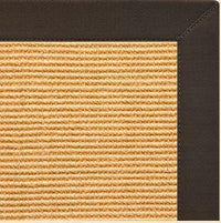 Tan Sisal Rug with Chocolate Cotton Border - Free Shipping