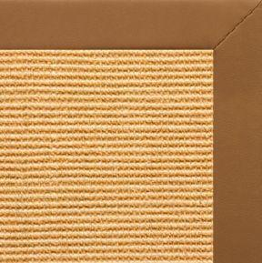 Tan Sisal Rug with Cinnamon Faux Leather Border - Free Shipping