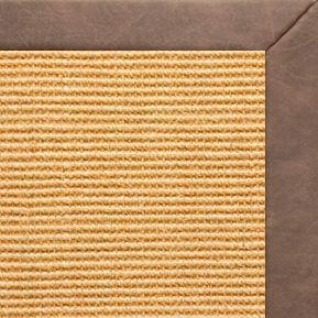 Tan Sisal Rug with Coco Faux Leather Border - Free Shipping
