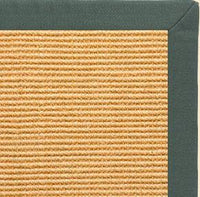 Tan Sisal Rug with Green Linen Border - Free Shipping