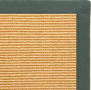 Tan Sisal Rug with Green Linen Border