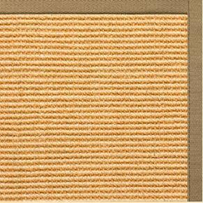Tan Sisal Rug with Green Mist Cotton Border