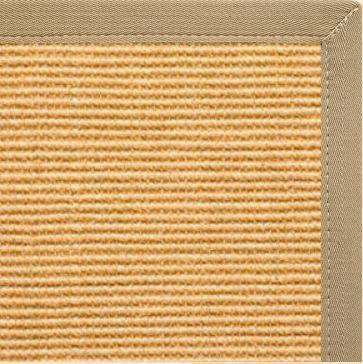 Tan Sisal Rug with Khaki Canvas Border - Free Shipping