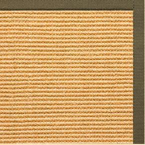 Tan Sisal Rug with Khaki Green Cotton Border