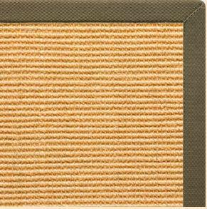 Tan Sisal Rug with Khaki Green Cotton Border - Free Shipping