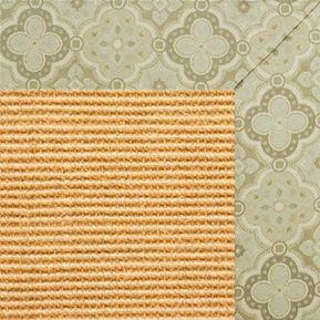 Tan Sisal Rug with Medallions Tapestry Border - Free Shipping