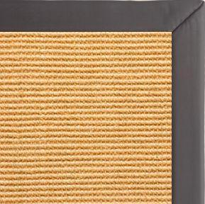 Tan Sisal Rug With Midnight Faux Leather Border