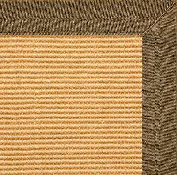 Tan Sisal Rug with Mocha Canvas Border - Free Shipping
