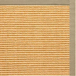 Tan Sisal Rug with Moon Rock Gray Cotton Border