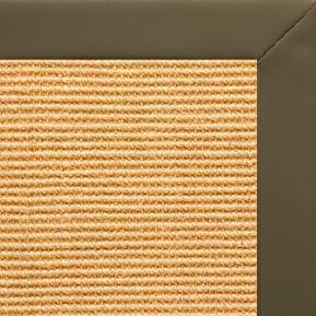 Tan Sisal Rug with Moss Faux Leather Border - Free Shipping