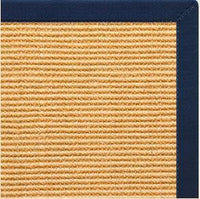 Tan Sisal Rug with Navy Blue Cotton Border - Free Shipping