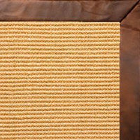 Tan Sisal Rug with Oak Leather Border - Free Shipping