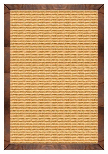 Area Rugs - Sustainable Lifestyles Tan Sisal Rug With Oak Leather Border