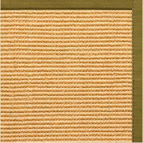 Tan Sisal Rug with Olive Green Cotton Border