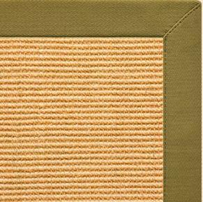 Tan Sisal Rug with Olive Green Cotton Border - Free Shipping