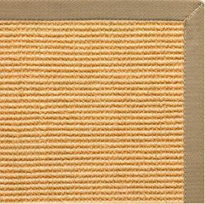 Tan Sisal Rug with Pale Ash Cotton Border - Free Shipping