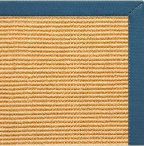 Tan Sisal Rug with Paradise Blue Cotton Border - Free Shipping