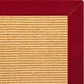 Tan Sisal Rug with Poppy Cotton Border - Free Shipping