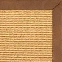 Tan Sisal Rug with Rawhide Faux Leather Border - Free Shipping
