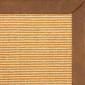 Tan Sisal Rug with Rawhide Faux Leather Border