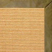 Tan Sisal Rug with Sage Leather Border - Free Shipping