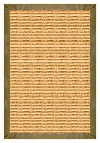 Area Rugs - Sustainable Lifestyles Tan Sisal Rug With Sage Leather Border