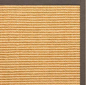 Tan Sisal Rug with Silver Shadow Cotton Border