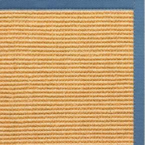 Tan Sisal Rug with Slate Blue Cotton Border - Free Shipping