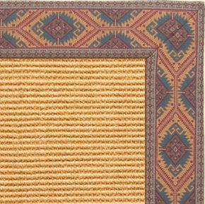 Tan Sisal Rug with Southwest Tapestry Border