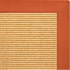 Tan Sisal Rug with Spice Orange Cotton Border - Free Shipping