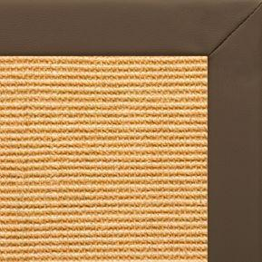 Tan Sisal Rug with Stone Faux Leather Border - Free Shipping