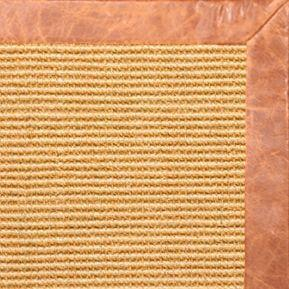 Tan Sisal Rug with Tan Leather Border - Free Shipping