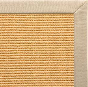 Tan Sisal Rug with Taupe Linen Border